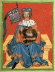 Markrabě Přemysl se symbolem Moravy. Obrázek převzat z Kodexu Gelnhausen.